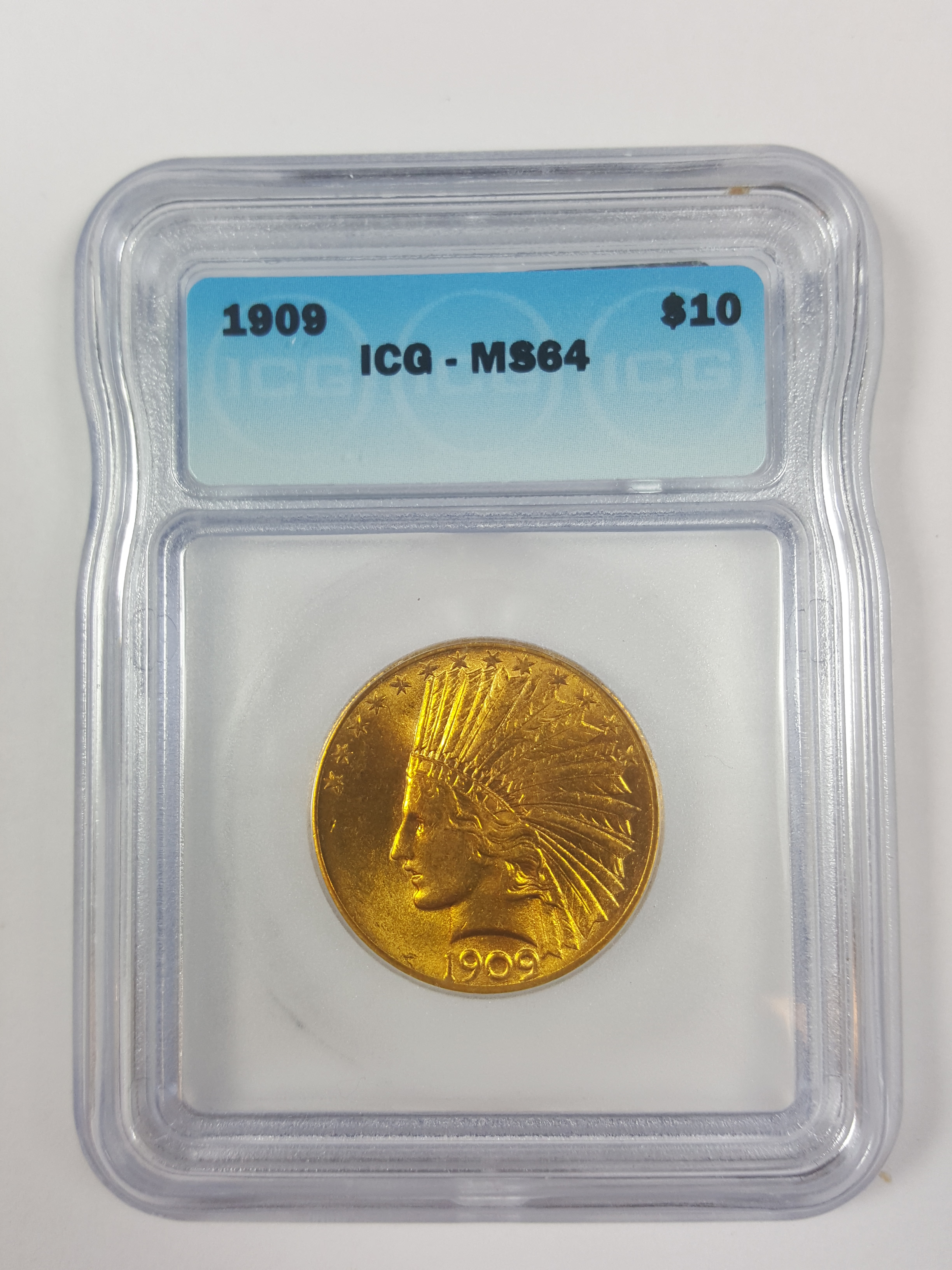 $10.00 1909 P GOLD INDIAN MS-64 ICG